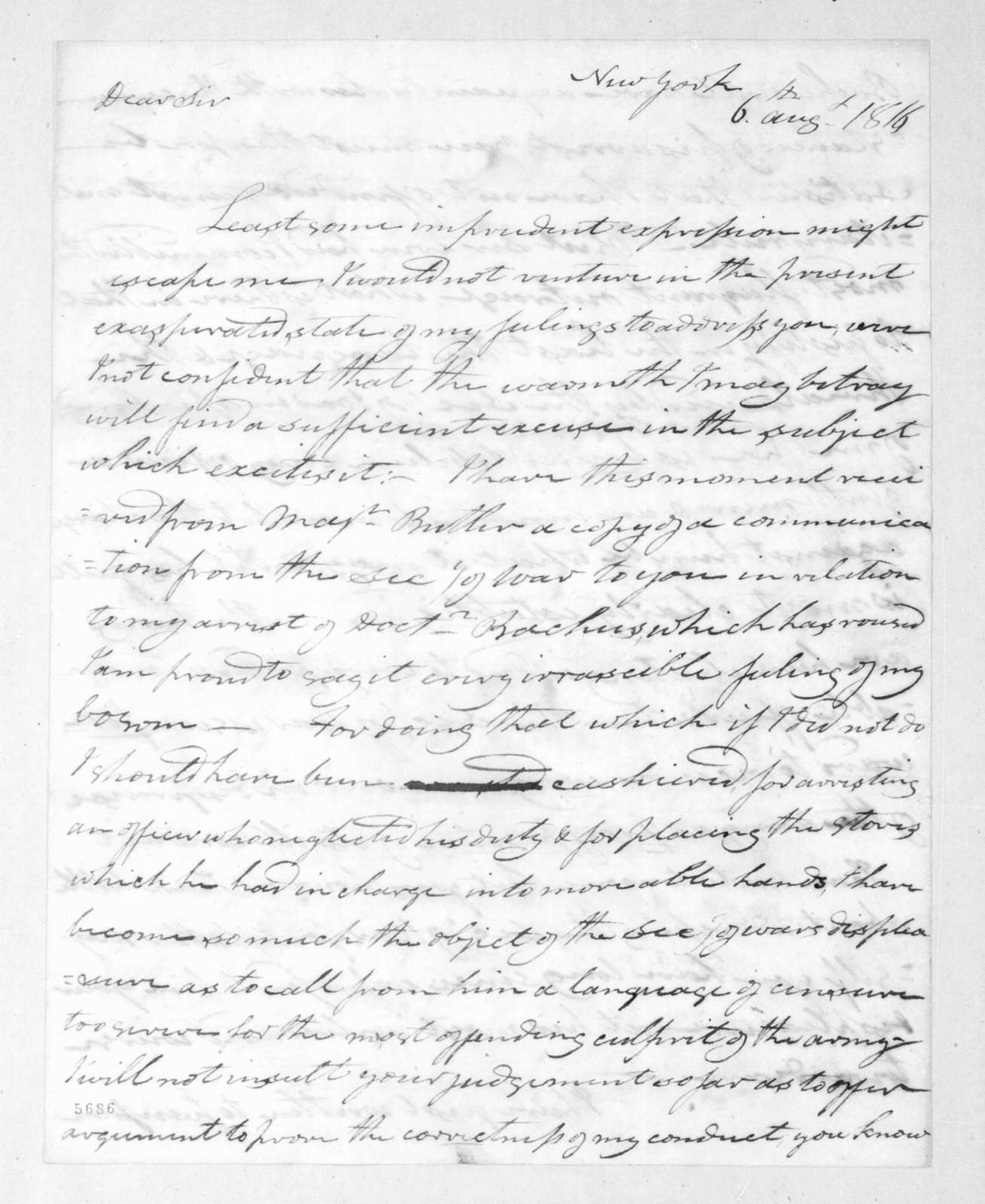 George Croghan to Andrew Jackson, August 6, 1816