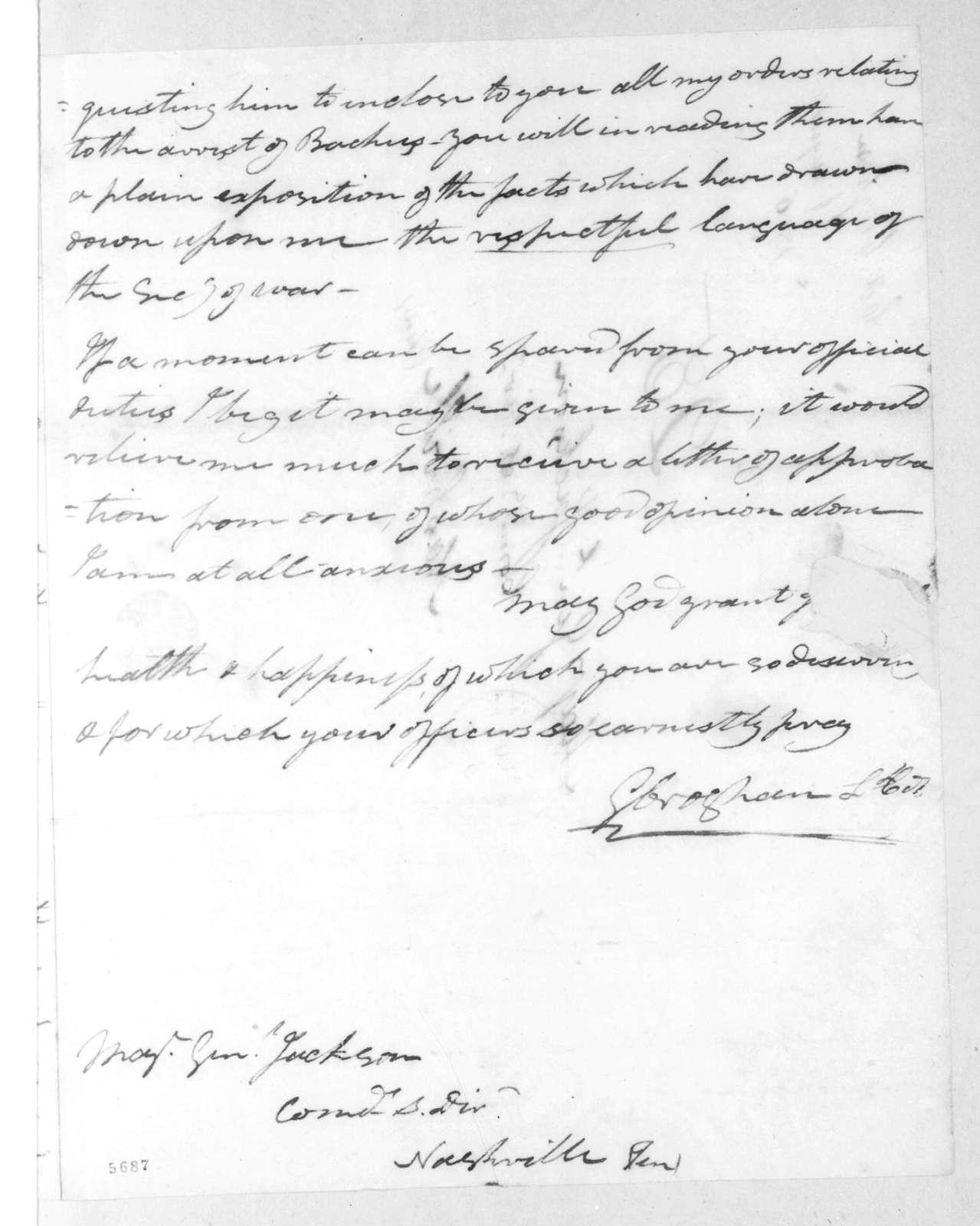 George Croghan to Andrew Jackson, August 6, 1816