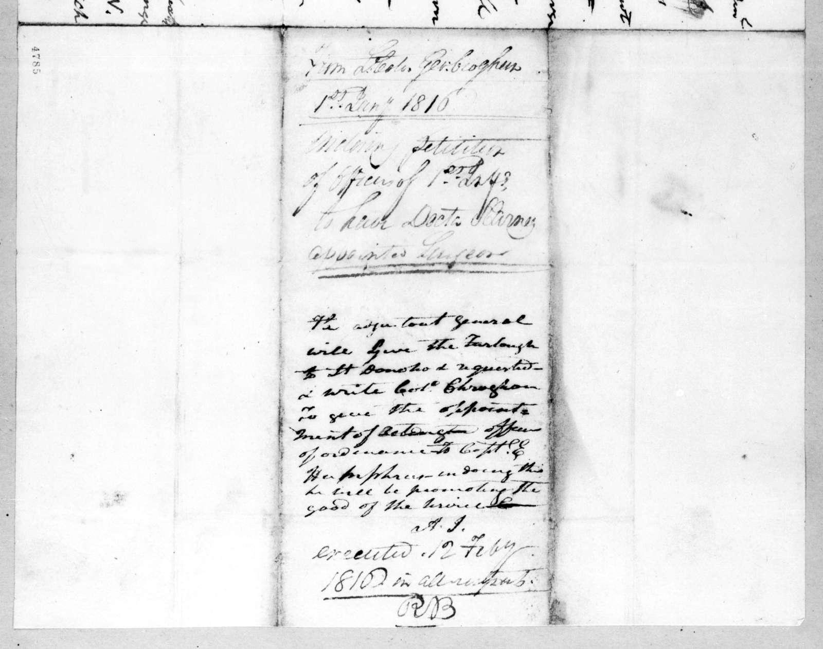 George Croghan to Andrew Jackson, January 1, 1816