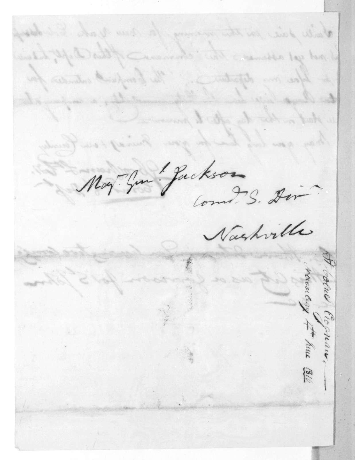 George Croghan to Andrew Jackson, June 4, 1816