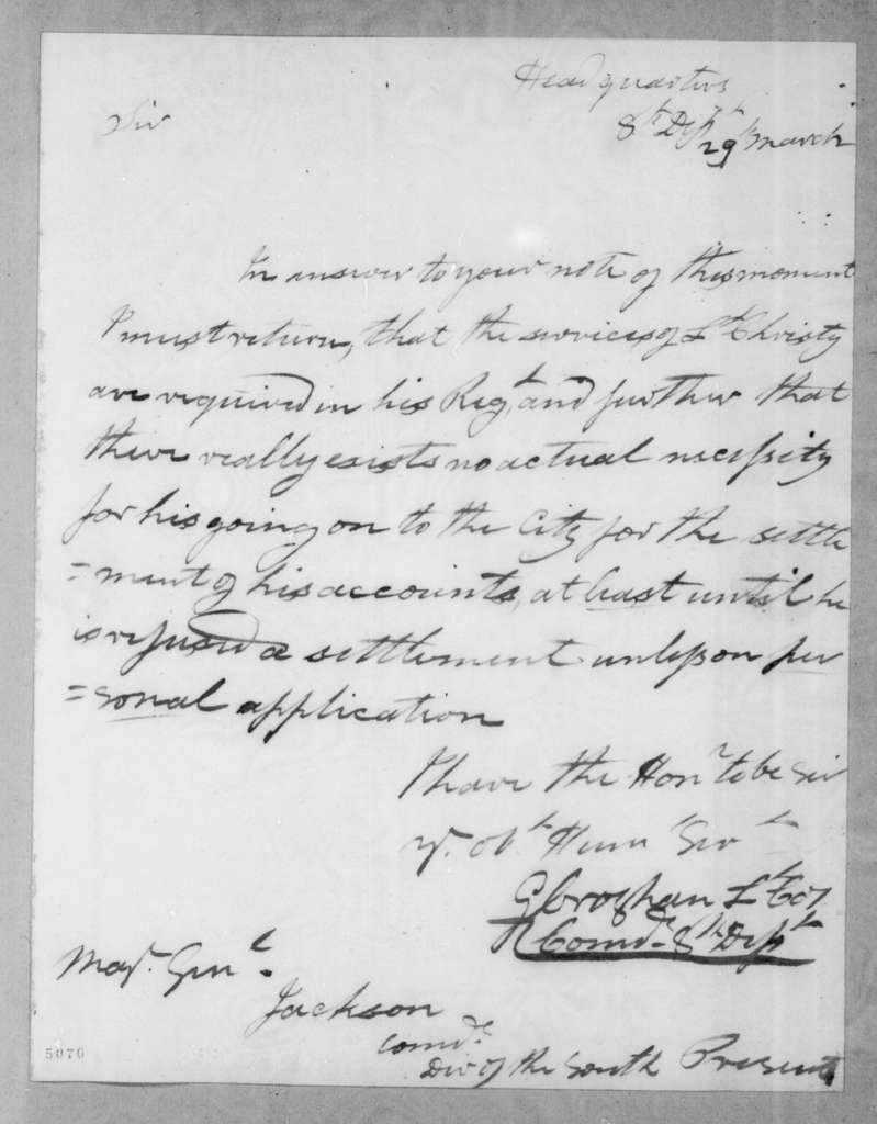 George Croghan to Andrew Jackson, March 29, 1816