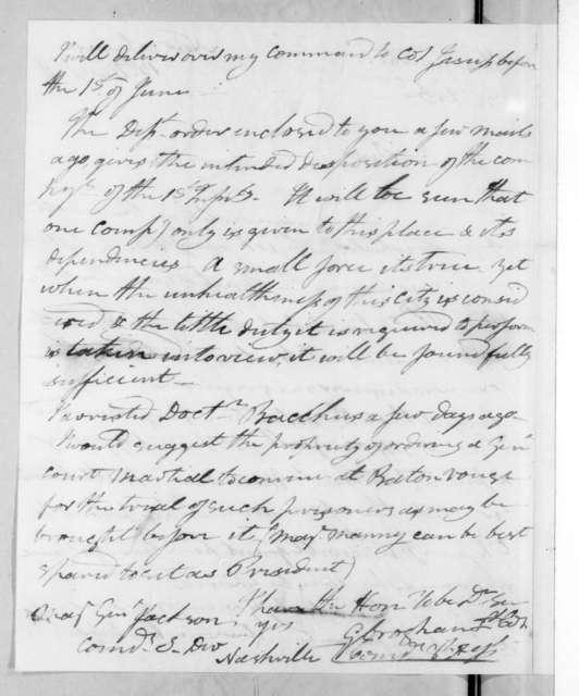 George Croghan to Andrew Jackson, May 13, 1816