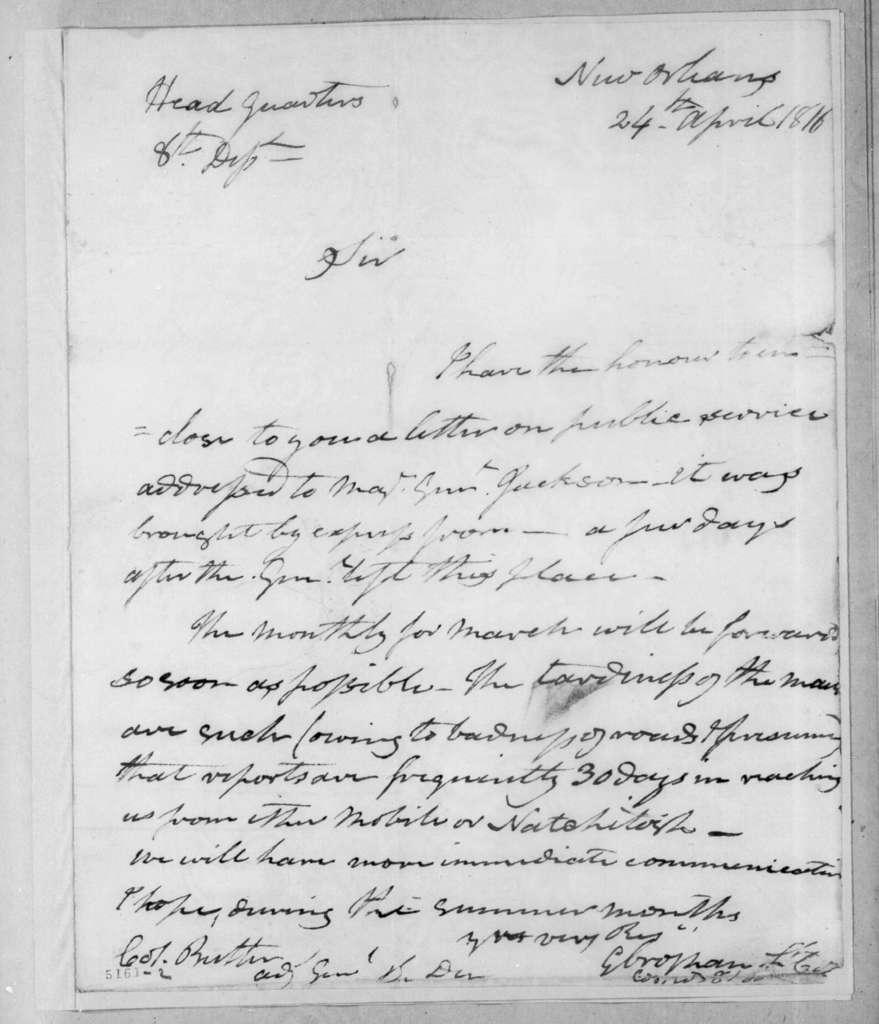 George Croghan to Robert Butler, April 24, 1816