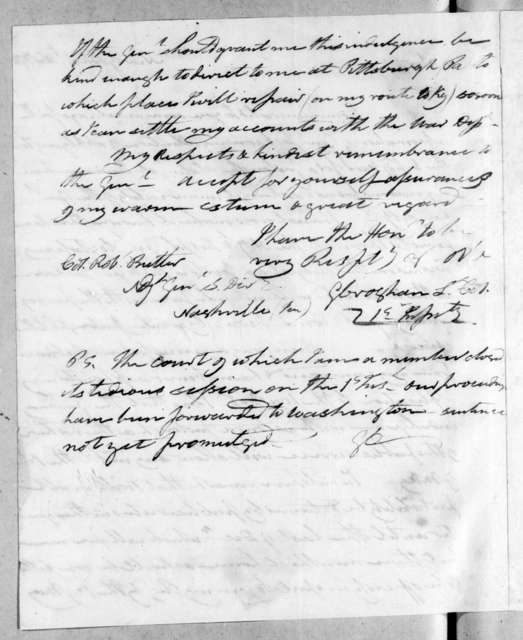 George Croghan to Robert Butler, November 4, 1816