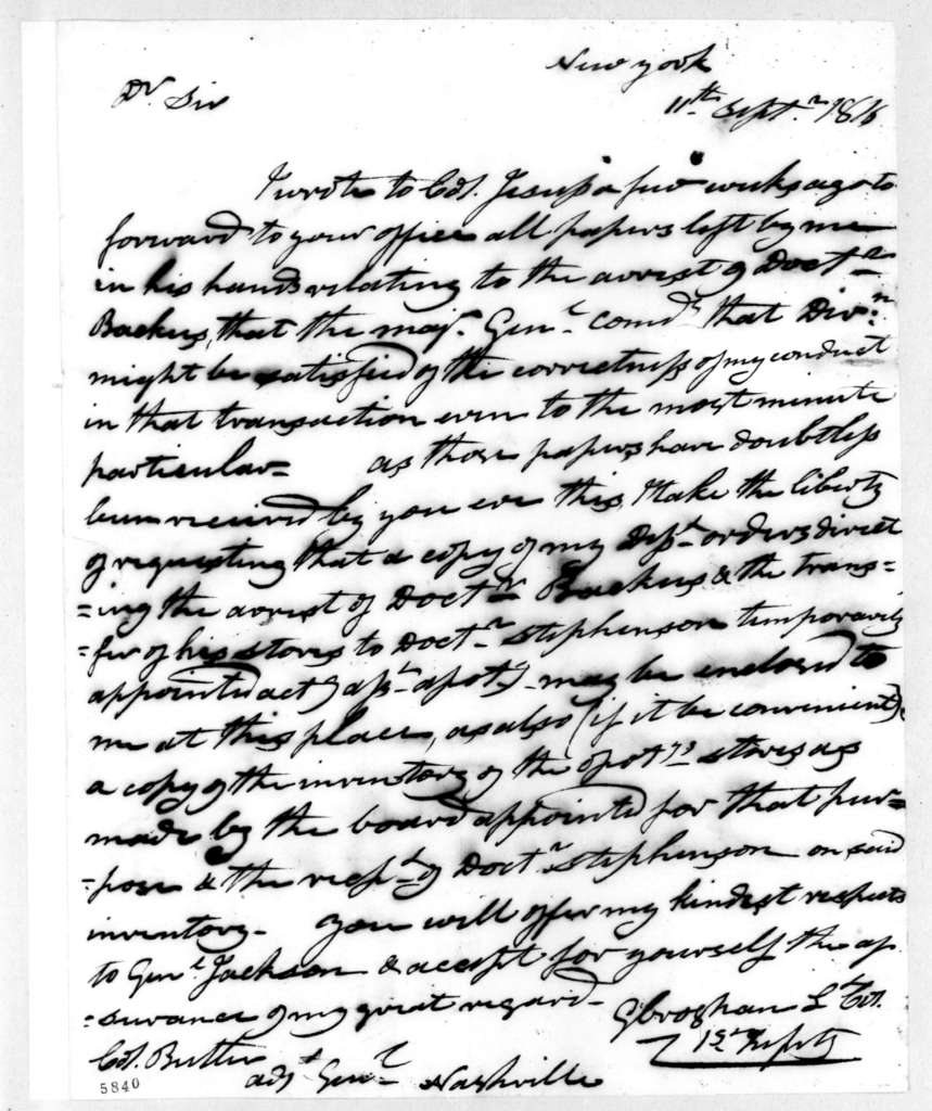 George Croghan to Robert Butler, September 11, 1816