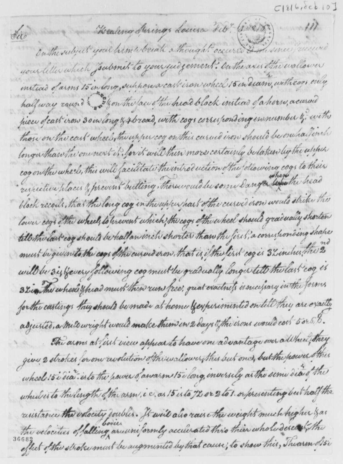 George Fleming to Thomas Jefferson, February 10, 1816