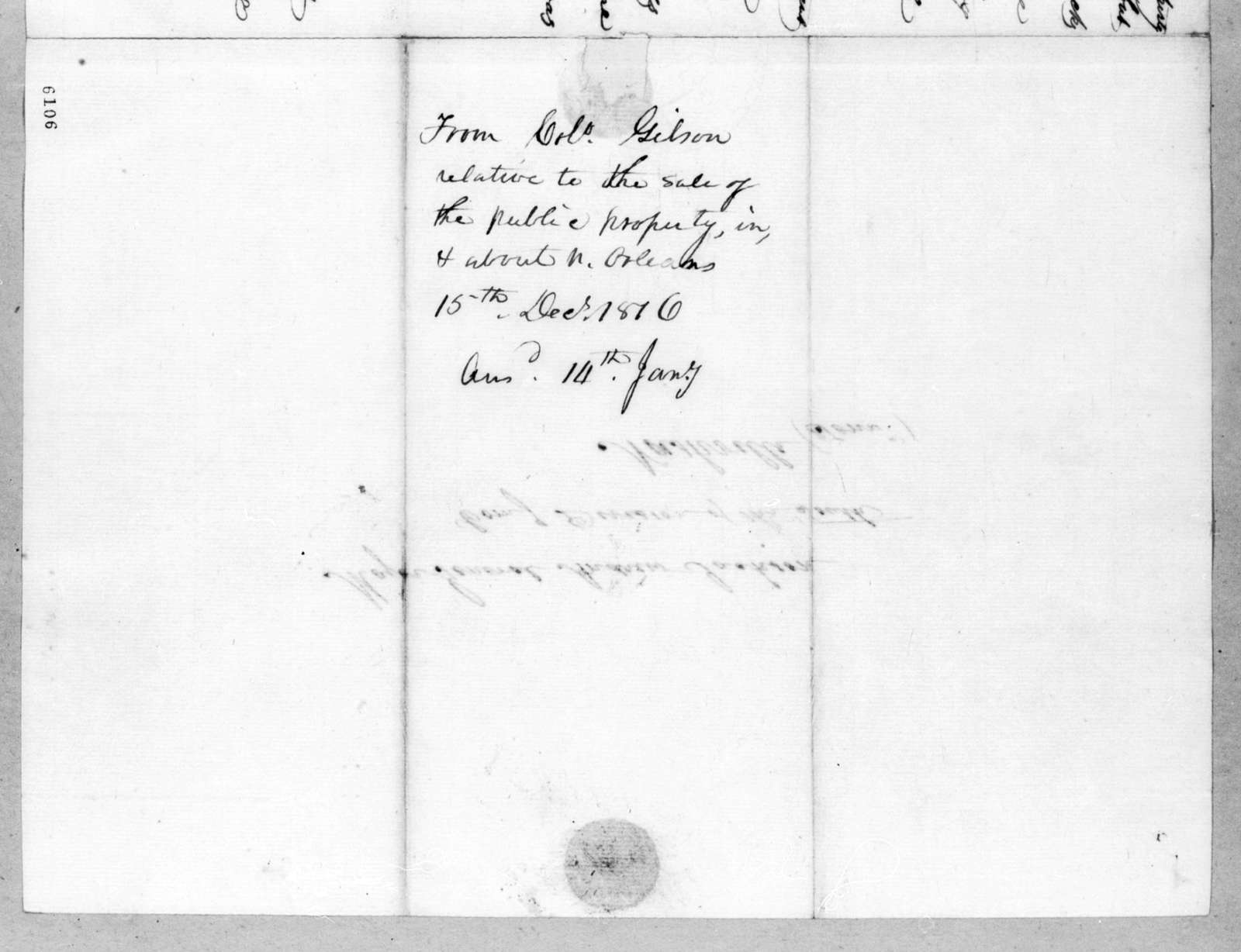 George Gibson to Andrew Jackson, December 15, 1816