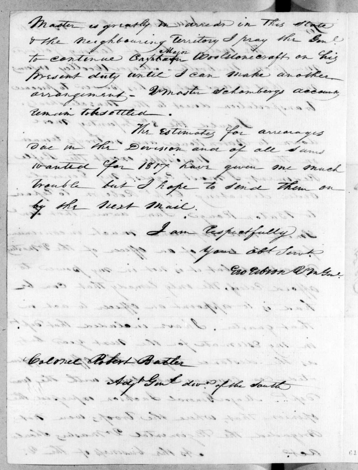 George Gibson to Robert Butler, December 15, 1816