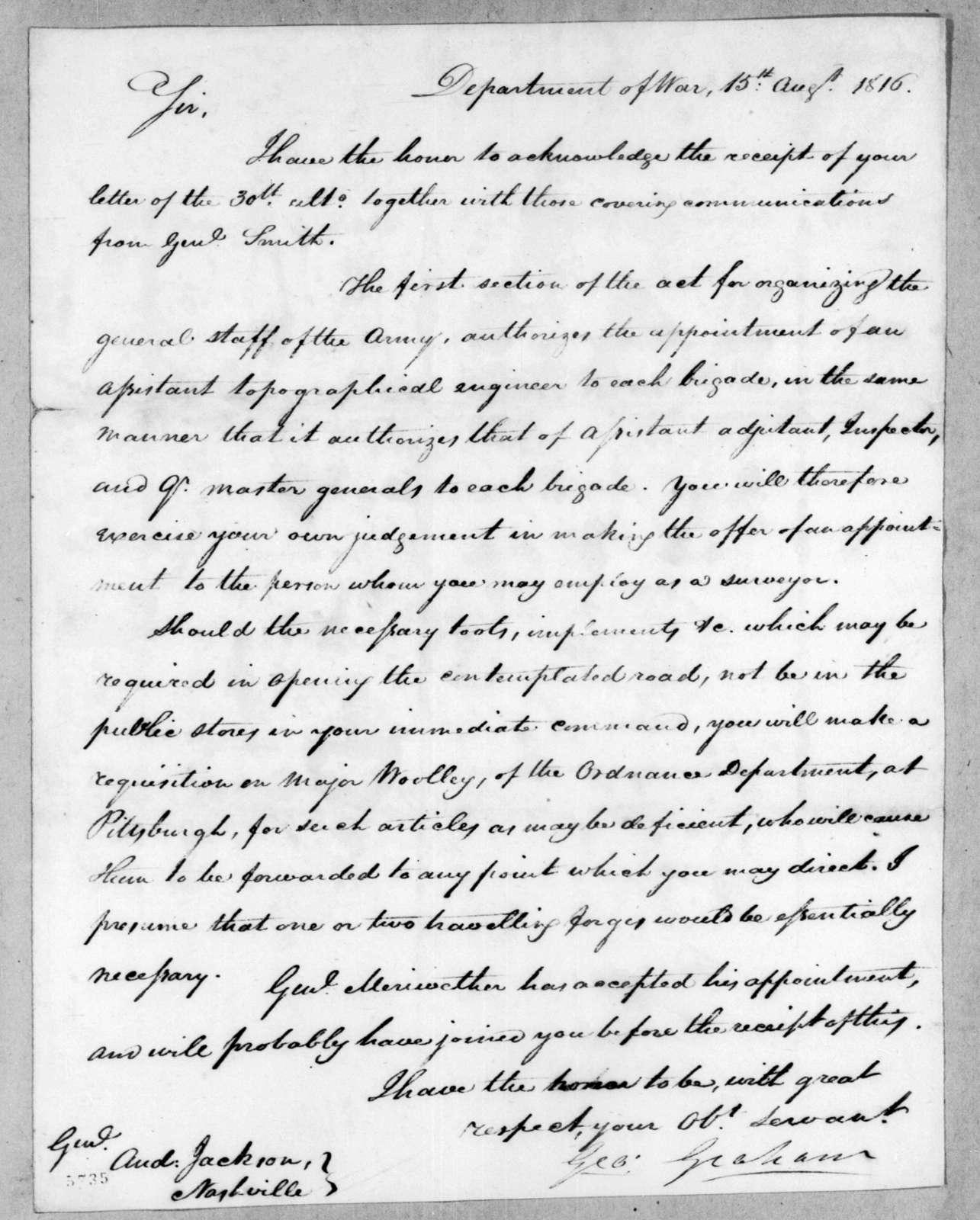 George Graham to Andrew Jackson, August 15, 1816