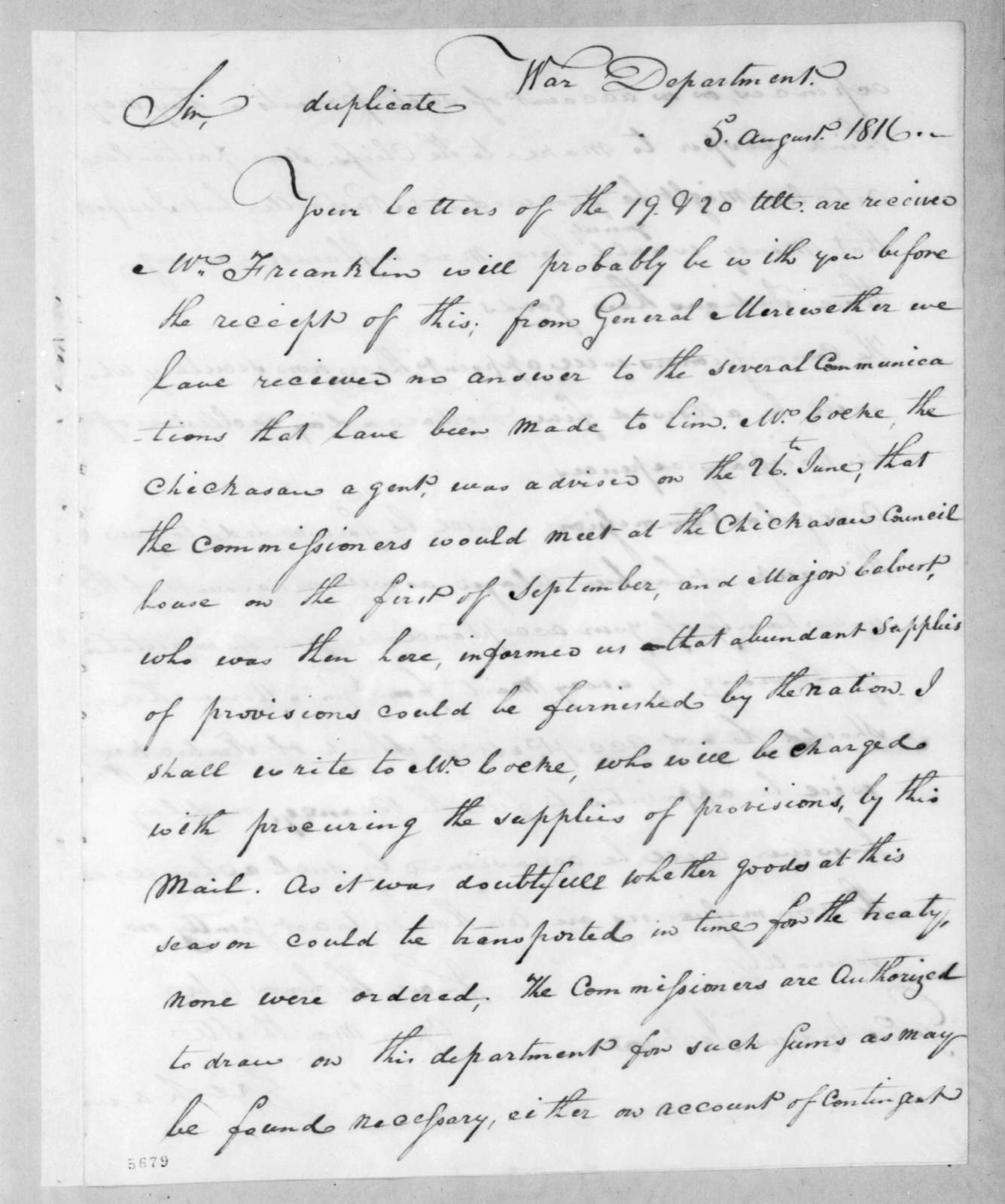 George Graham to Andrew Jackson, August 5, 1816