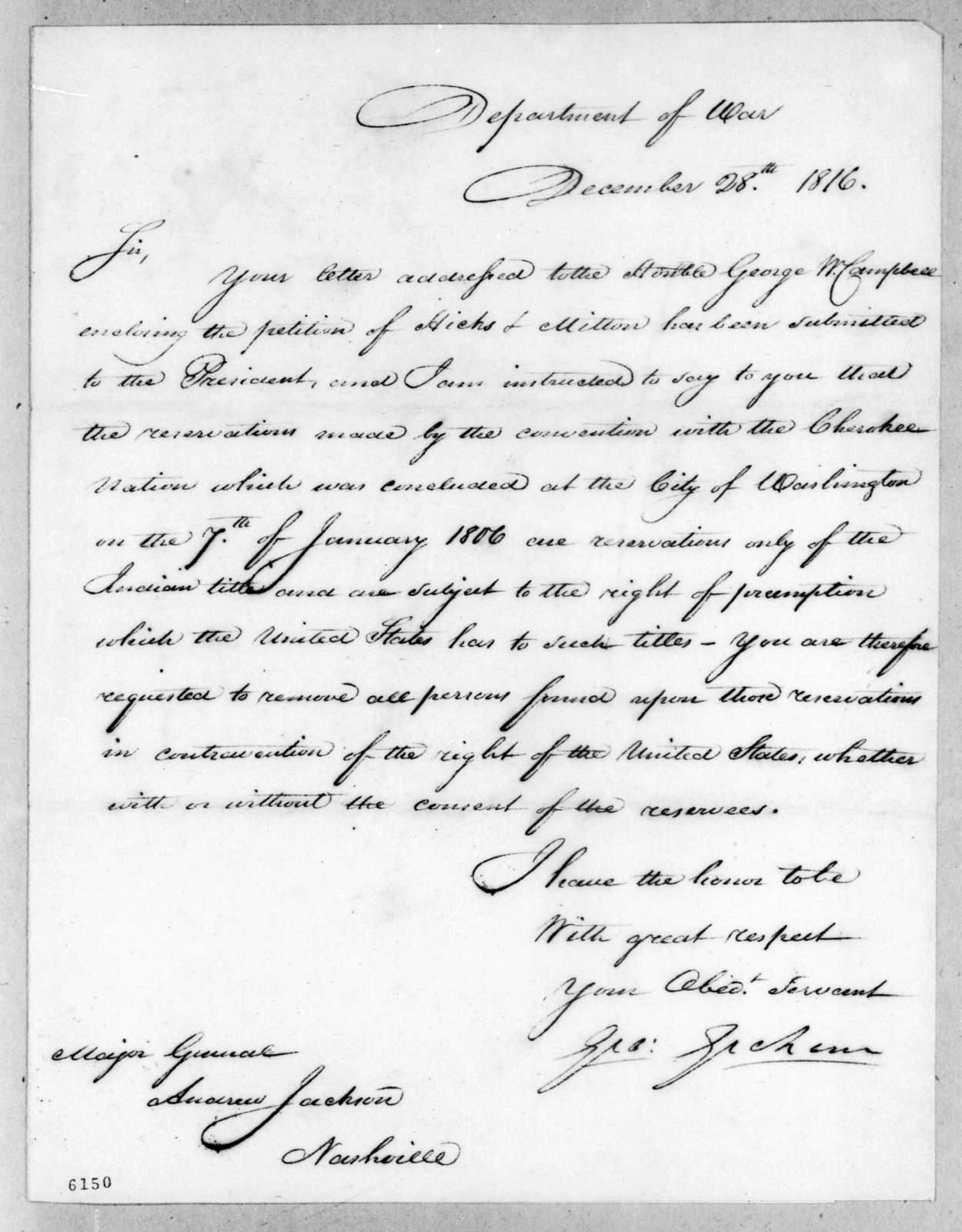 George Graham to Andrew Jackson, December 28, 1816