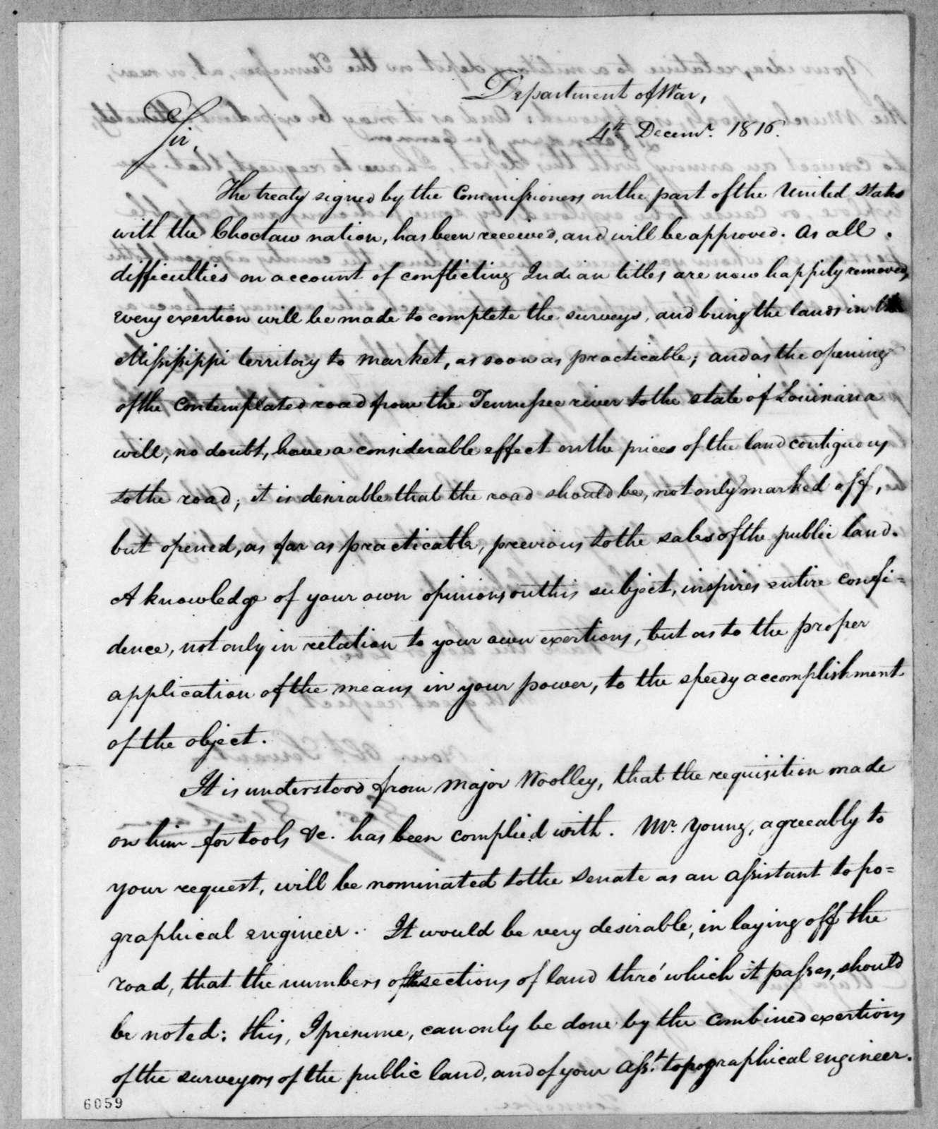George Graham to Andrew Jackson, December 4, 1816