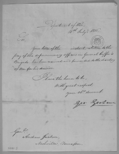 George Graham to Andrew Jackson, July 16, 1816