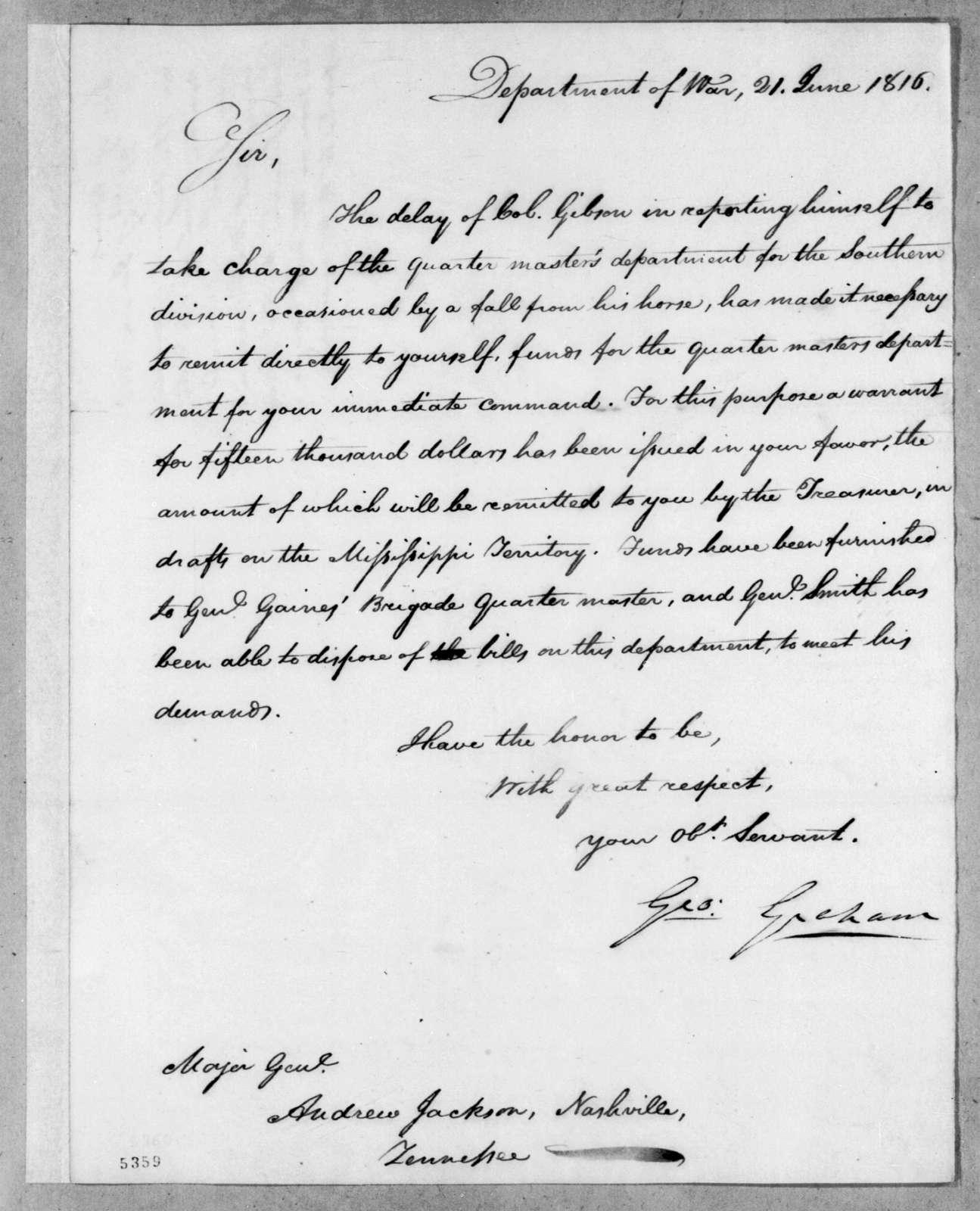 George Graham to Andrew Jackson, June 21, 1816