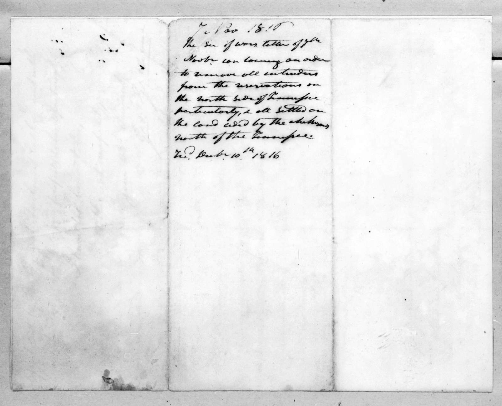 George Graham to Andrew Jackson, November 7, 1816