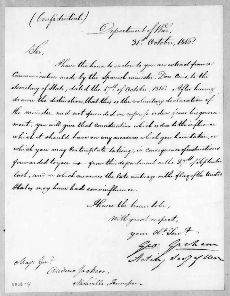 George Graham to Andrew Jackson, October 31, 1816