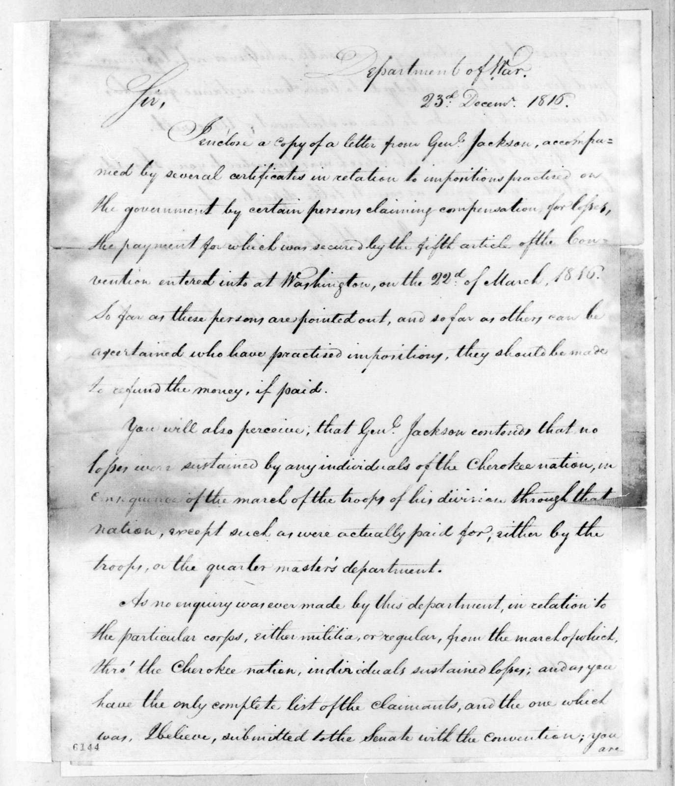 George Graham to Return Jonathan Meigs, December 23, 1816