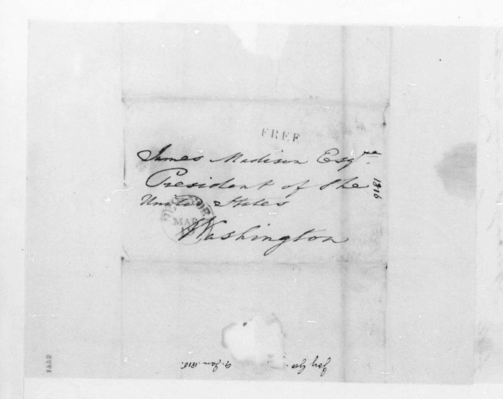 George Joy to James Madison, January 9, 1816.