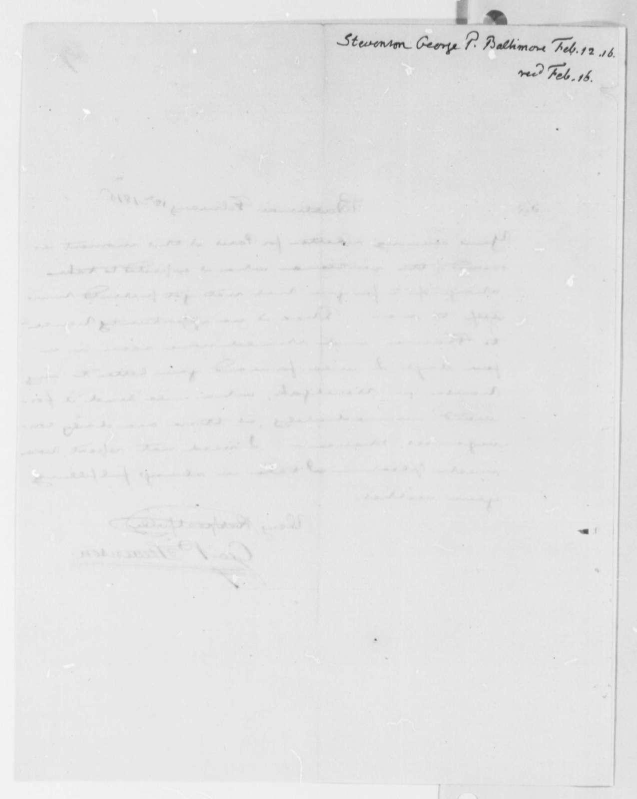 George P. Stevenson to Thomas Jefferson, February 12, 1816