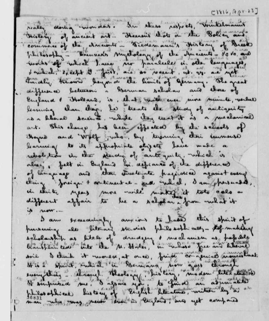 George Ticknor to Thomas Jefferson, April 23, 1816
