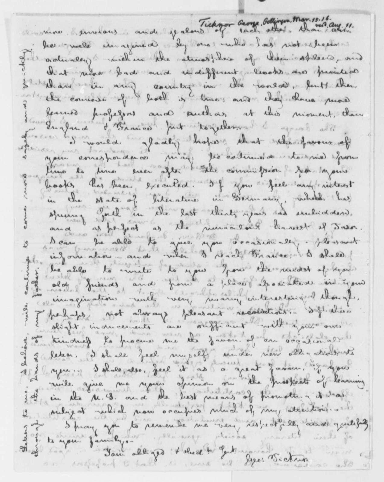 George Ticknor to Thomas Jefferson, March 15, 1816