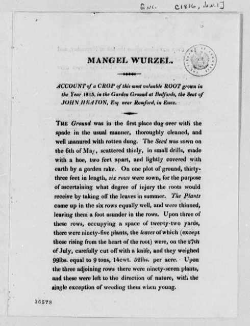 George Turnbull to George Logan, January 1, 1816, Printed Circular on Root Crop Experiments