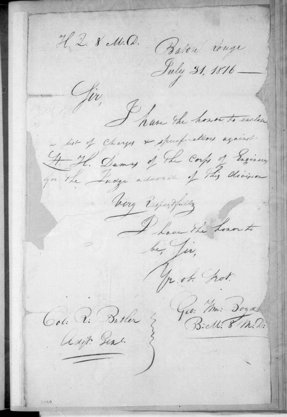 George W. Boyd to Robert Butler, July 31, 1816