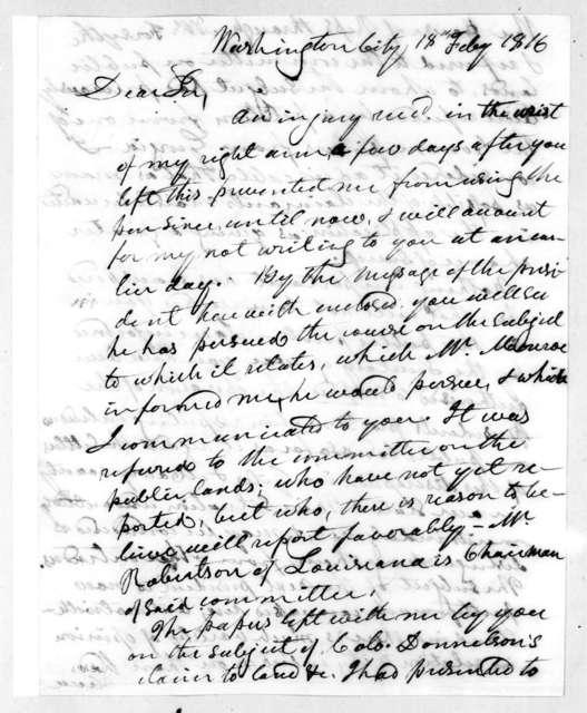 George Washington Campbell to Andrew Jackson, February 18, 1816