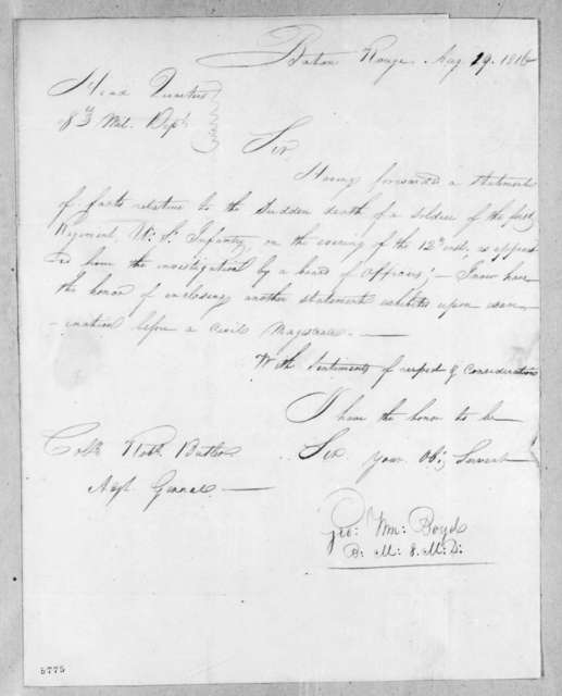 George William Boyd to Robert Butler, August 19, 1816