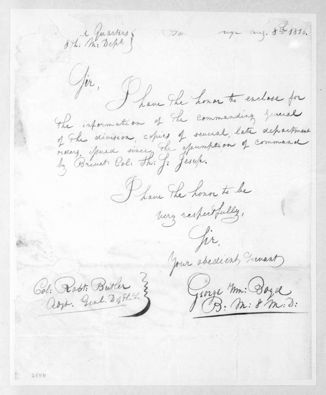 George William Boyd to Robert Butler, August 8, 1816