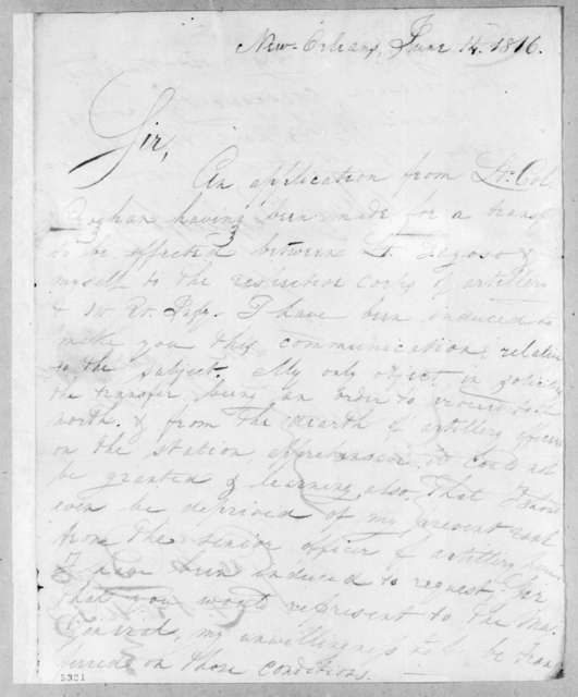 George William Boyd to Robert Butler, June 14, 1816