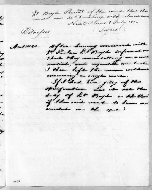 George William Boyd to William O. Winston, July 6, 1816