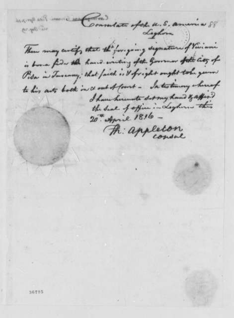 Giovanni Carmignani to Thomas Jefferson, April 7, 1816, Partially in Italian