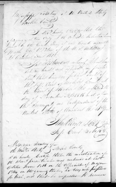 Grand Jury of Mobile, Mississippi Territory to Andrew Jackson, December 21, 1816