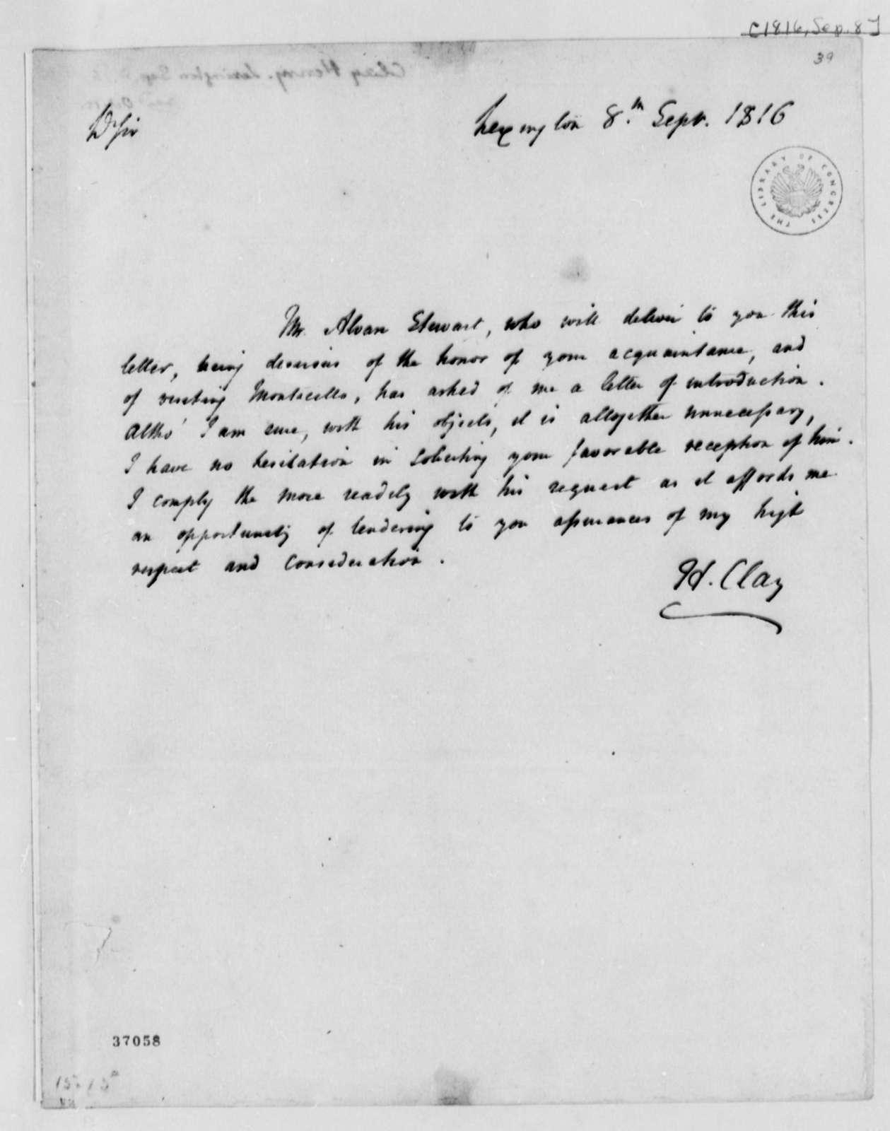 Henry Clay to Thomas Jefferson, September 8, 1816