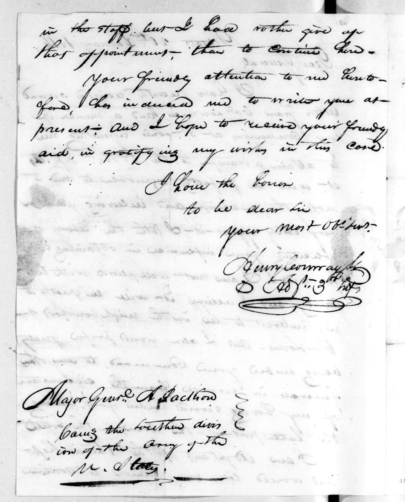 Henry Conway to Andrew Jackson, January 20, 1816