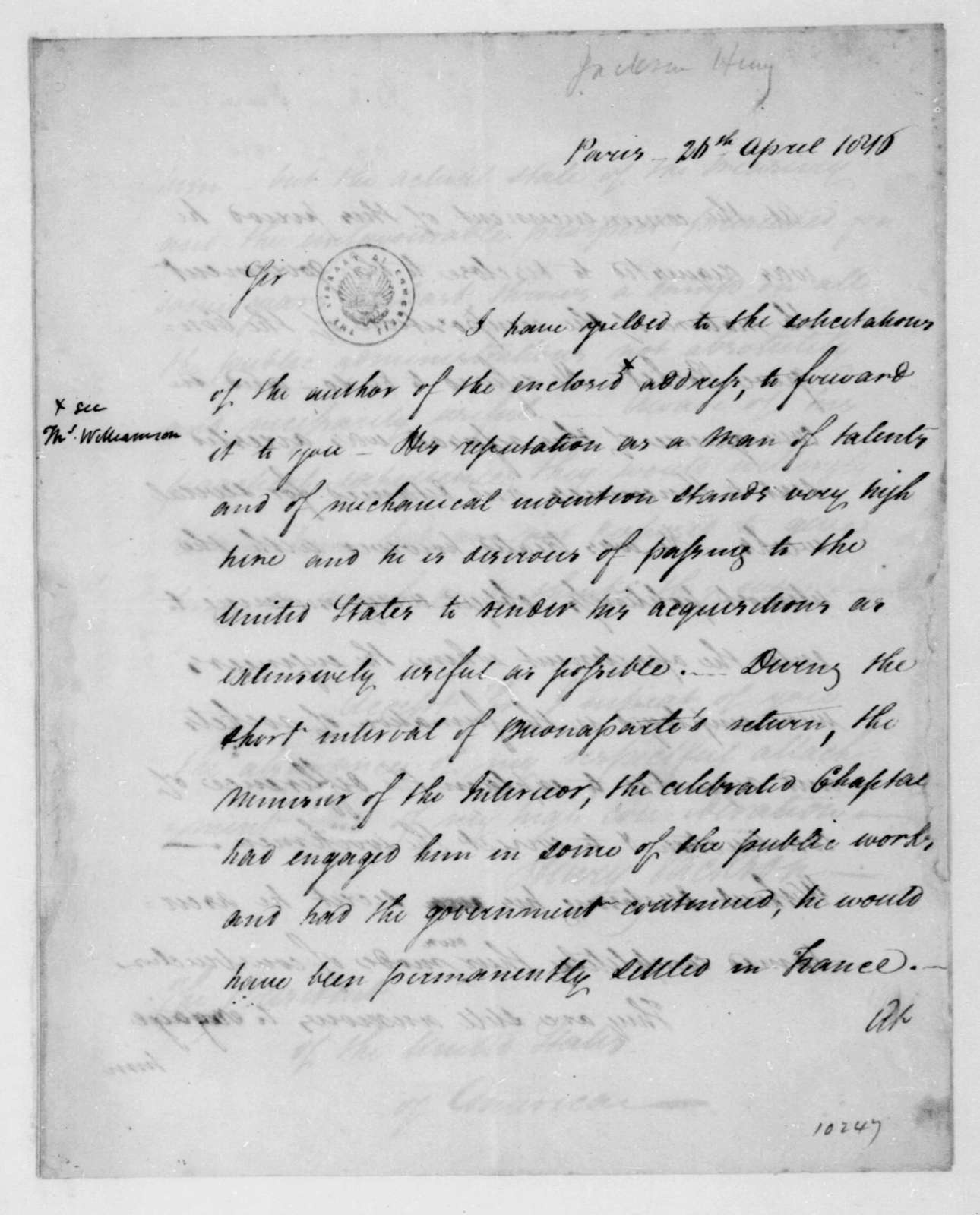 Henry Jackson to James Madison, April 26, 1816.