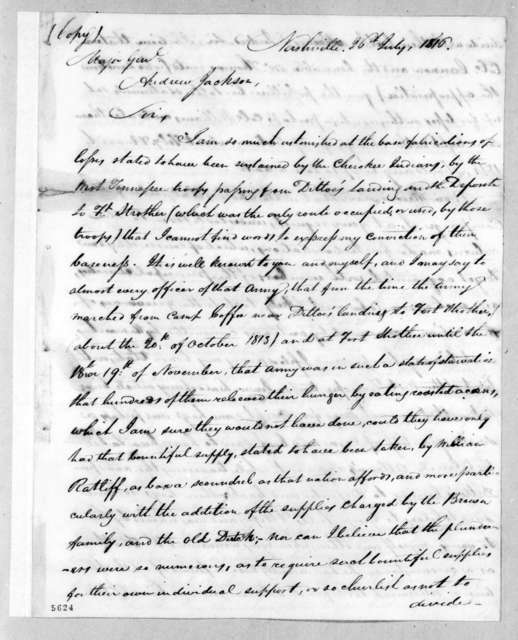 Howell Tatum to Andrew Jackson, July 26, 1816