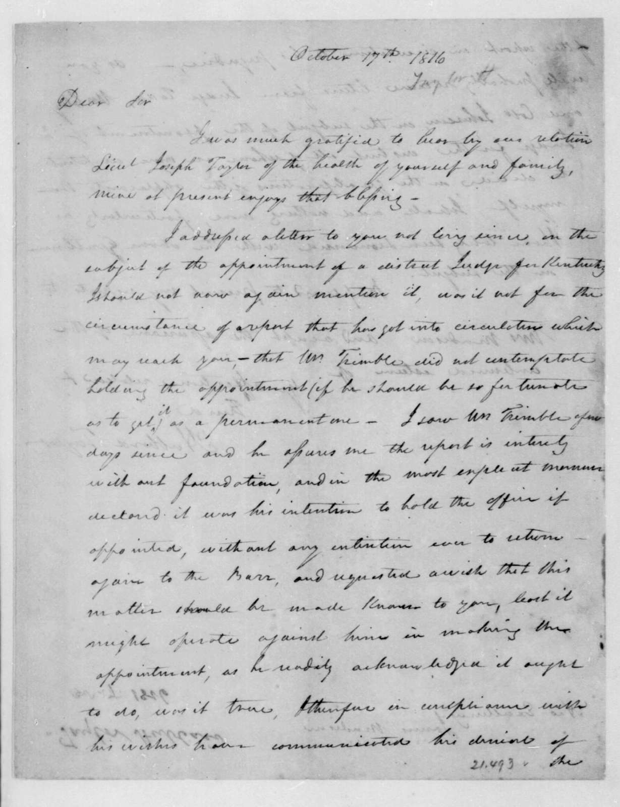 Hubbard Taylor to James Madison, October 17, 1816.