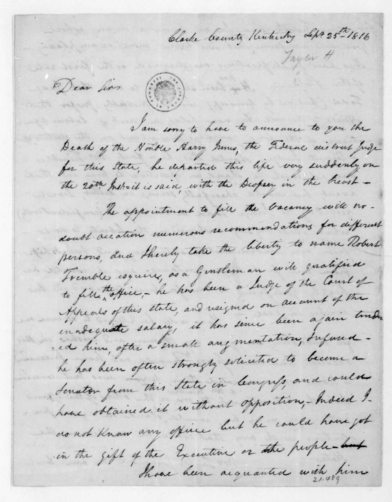 Hubbard Taylor to James Madison, September 25, 1816.