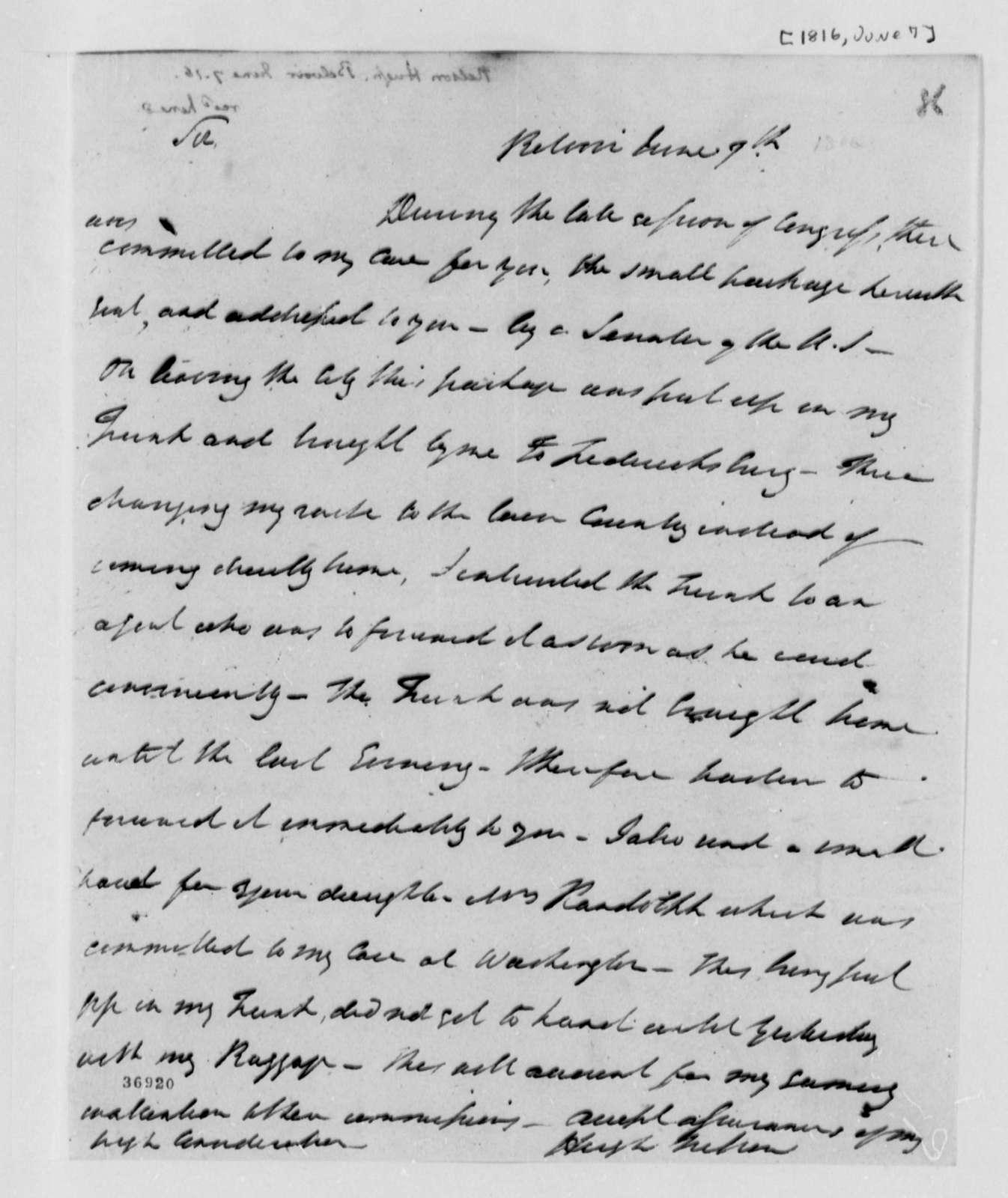 Hugh Nelson to Thomas Jefferson, June 7, 1816