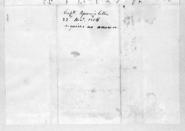 Hugh Young to Andrew Jackson, December 22, 1816