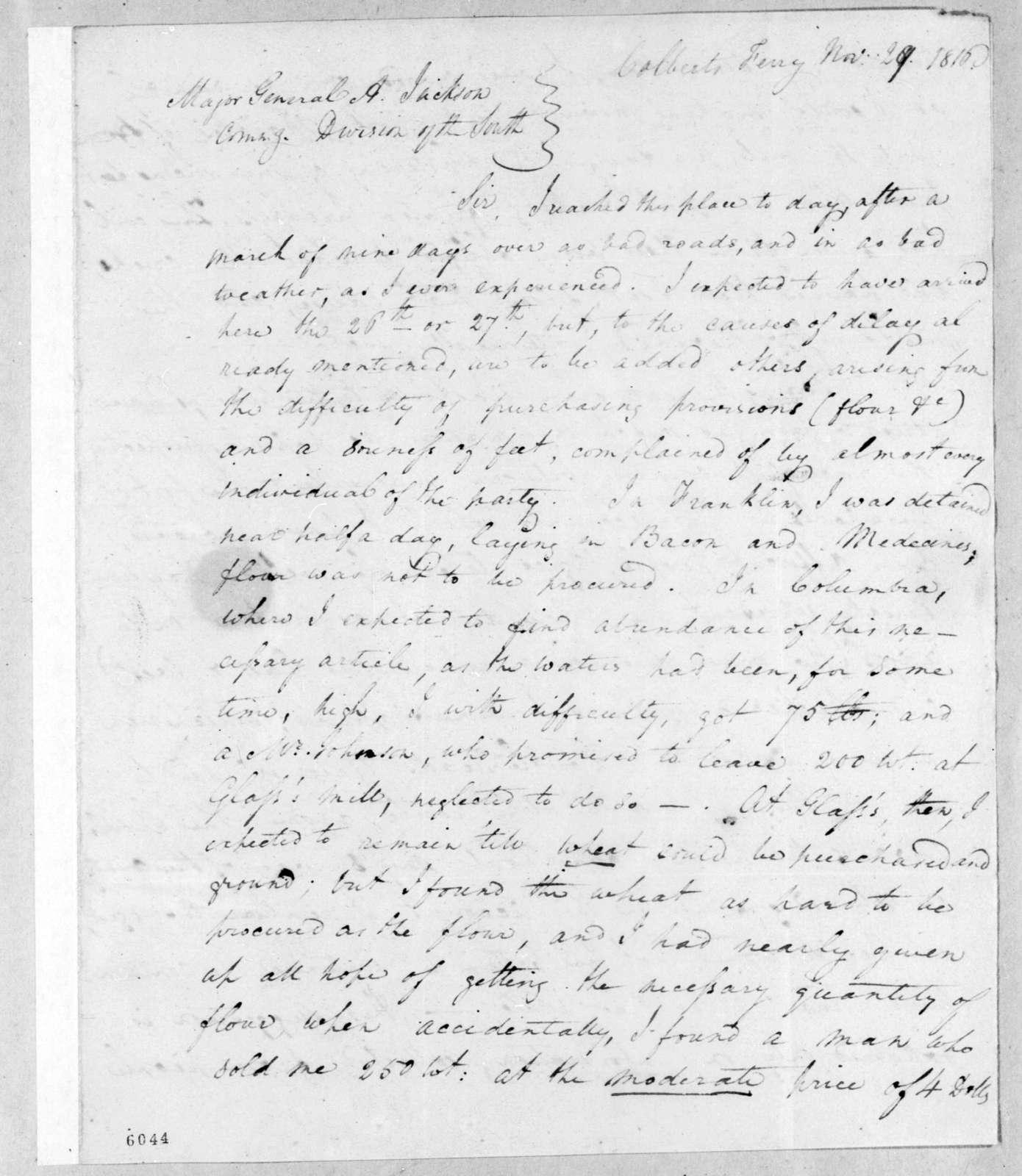 Hugh Young to Andrew Jackson, November 29, 1816