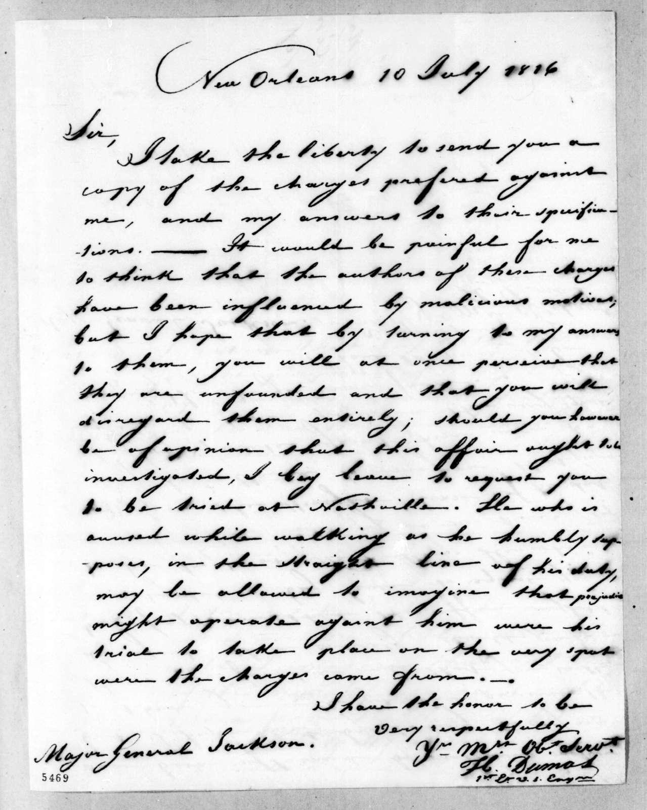 Hypolite Dumas to Andrew Jackson, July 10, 1816