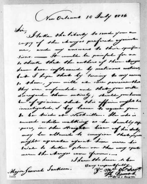 Hypolite Dumas to Andrew Jackson, July 10, 1816