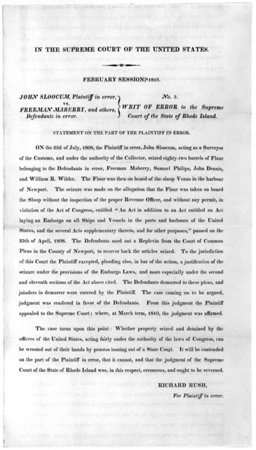 In the Supreme court of the United States. February sessions 1816. John Sloocum, plaintiff in error, vs. Freeman Maberry, and others, defendants in error. No. 5. Writ of error to the Supreme court of the State of Rhode Island ... [1816].
