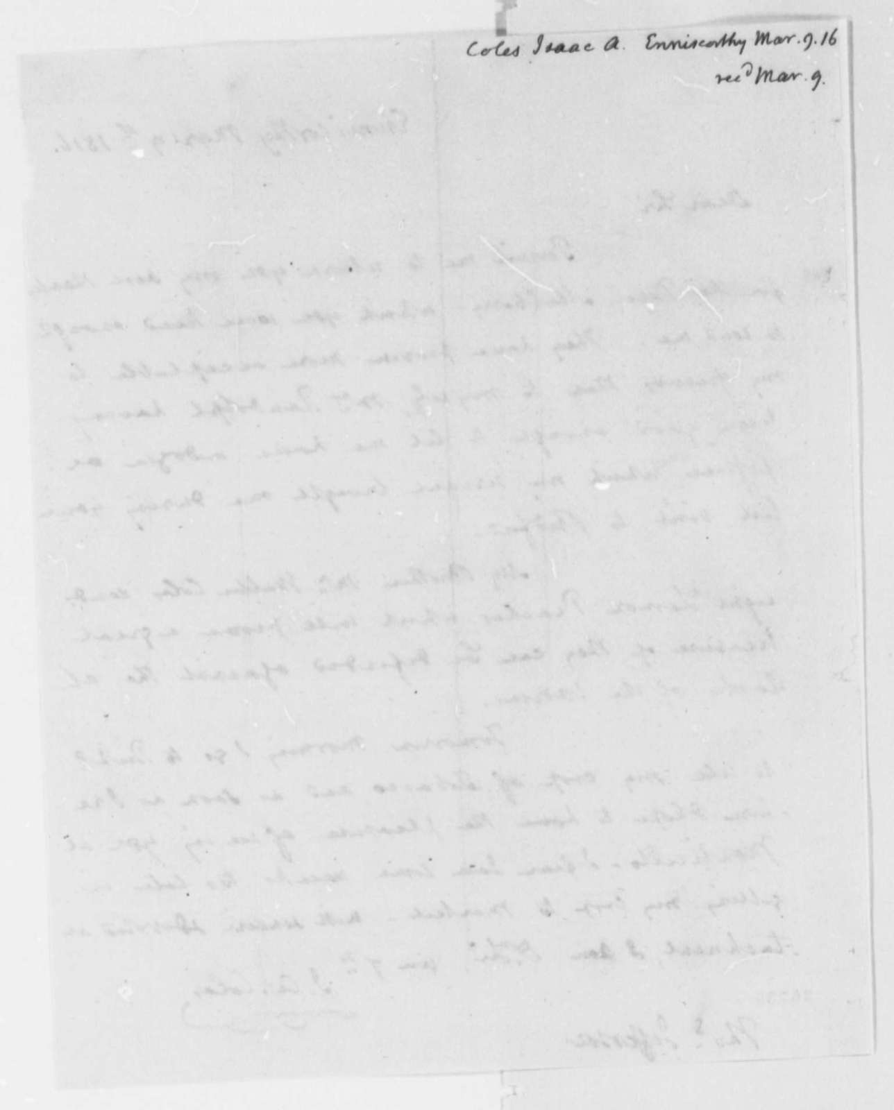 Isaac A. Coles to Thomas Jefferson, March 9, 1816