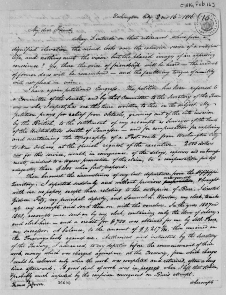 Isaac Briggs to Thomas Jefferson, February 16, 1816