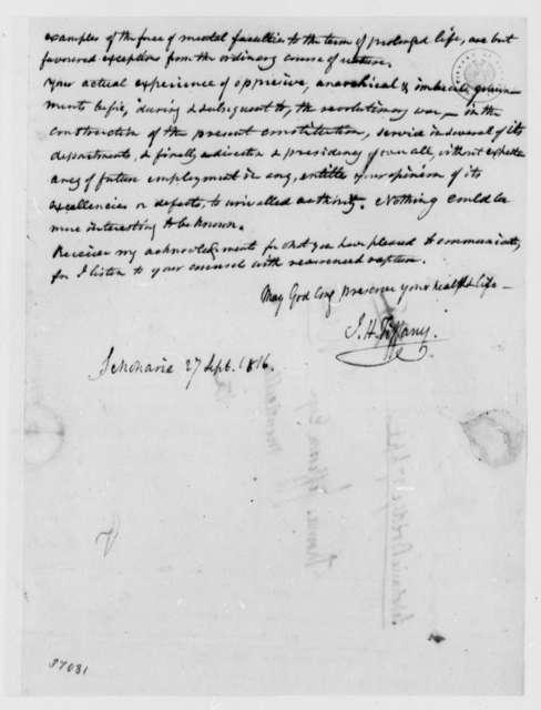 Isaac H. Tiffany to Thomas Jefferson, September 27, 1816