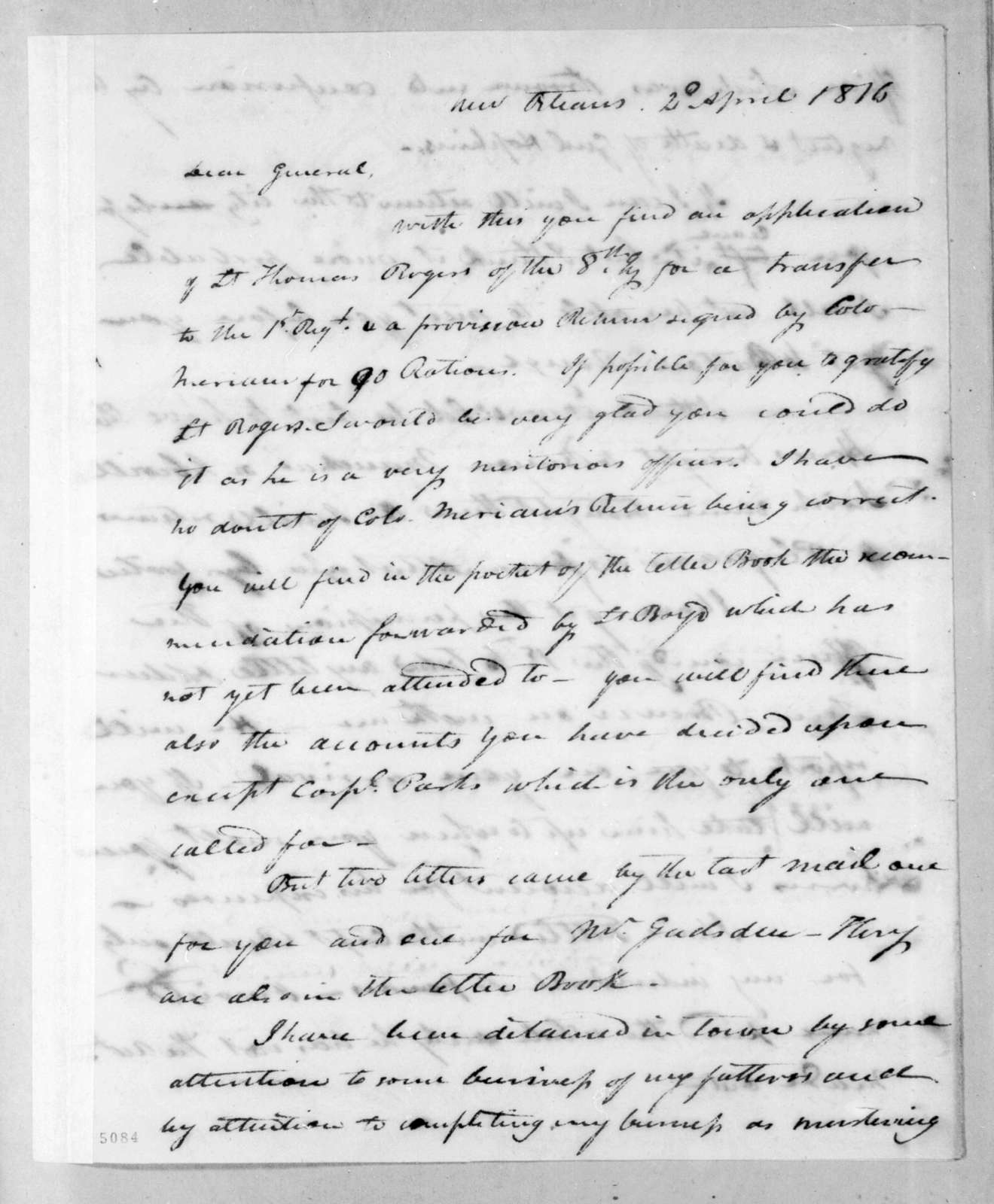 Isaac Lewis Baker to Andrew Jackson, April 2, 1816